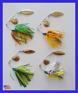 USA Lot of 4 New Fishing Lures Hard Lure Spinner Bait Fishing Tuckle BASS KILLER