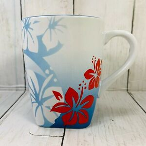 Disney-IT-039-S-A-SHORE-THING-Mug-Flower-Floral-Blue-Hibiscus-Coffee-Tea-Mickey
