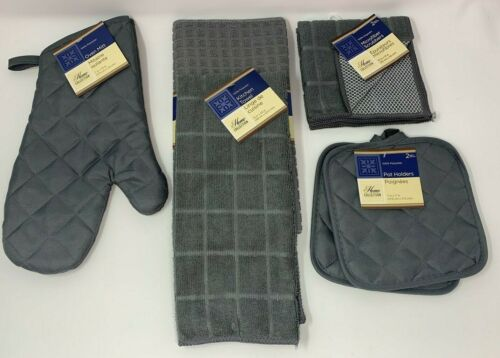 7 Pc Microfiber Kitchen Towel Set Gray w//Quilted Pot Holders Oven Mitt Towel
