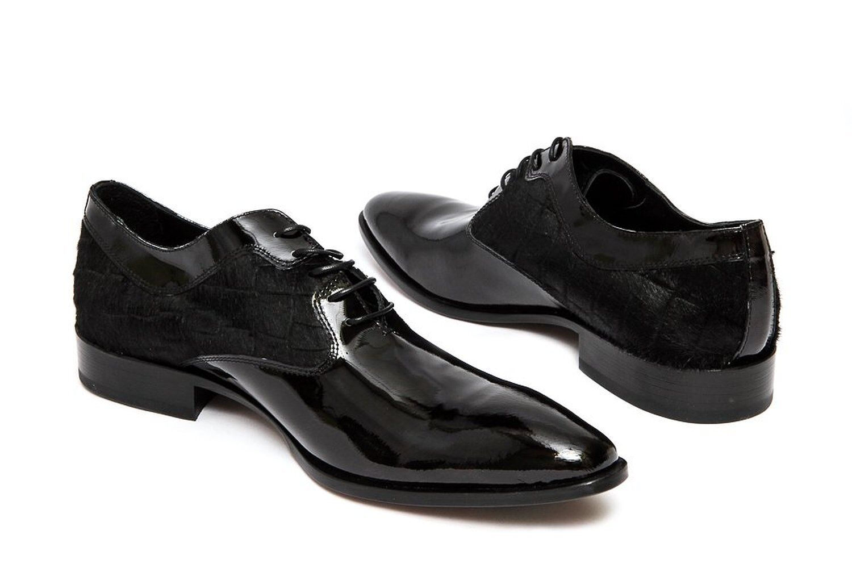 voiturelo Ventura 2095 Italien Homme Noir À Lacets Chaussures Avec Pony patch