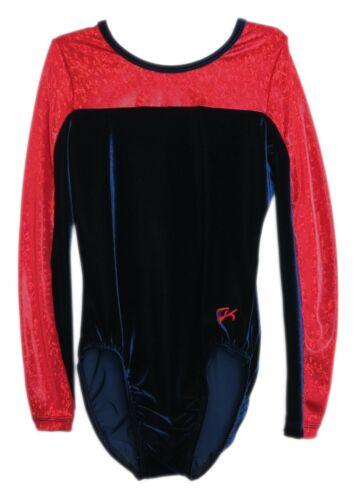 GK Elite Navy Velvet//Red Hologram Gymnastics Leotard AM Adult Medium 4097