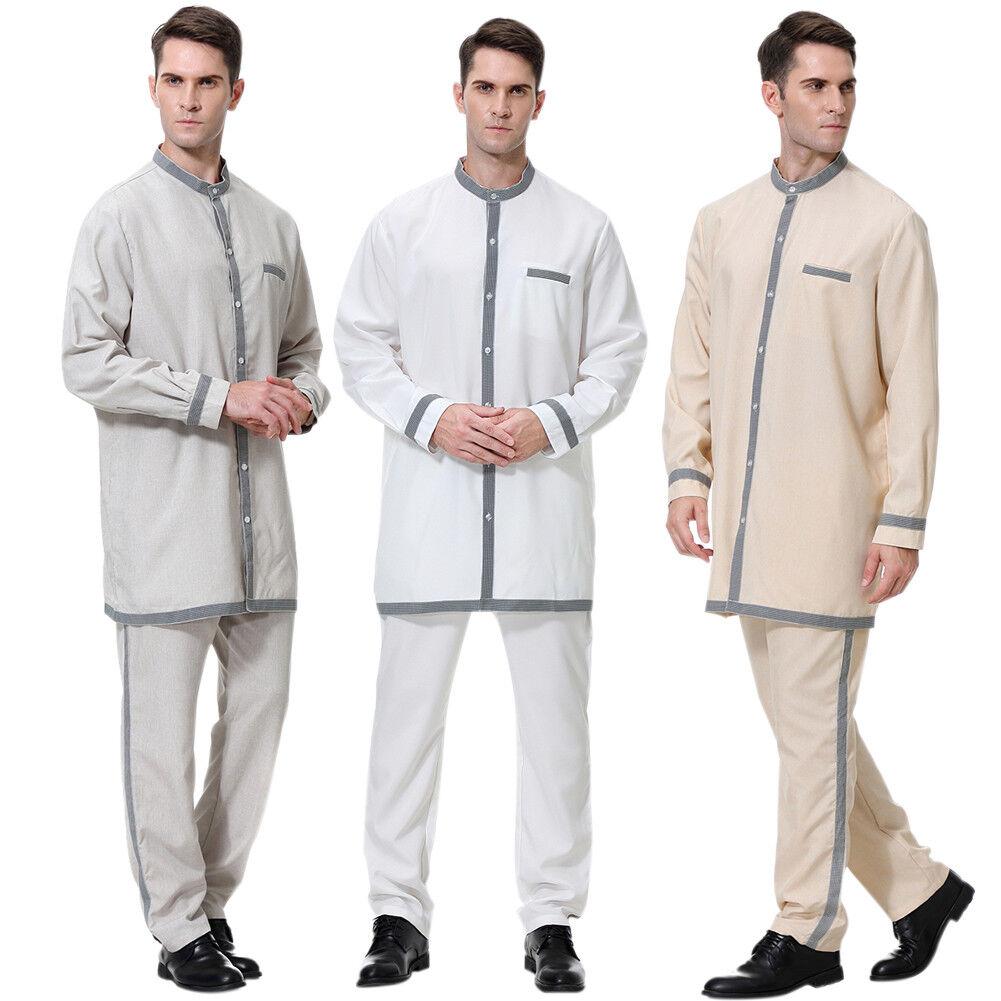 Men Islamic Muslim Thobe Arab Robe Dubai Abaya Casual Gown Long Sleeve New