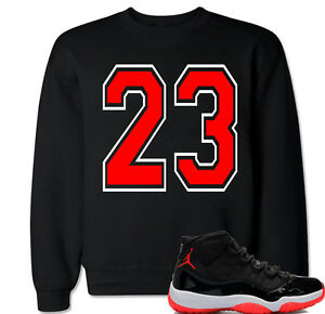 81bf1e27c2178e 23 Red Sweater to match with Air Jordan 11 Retro 11 Bred Black ...