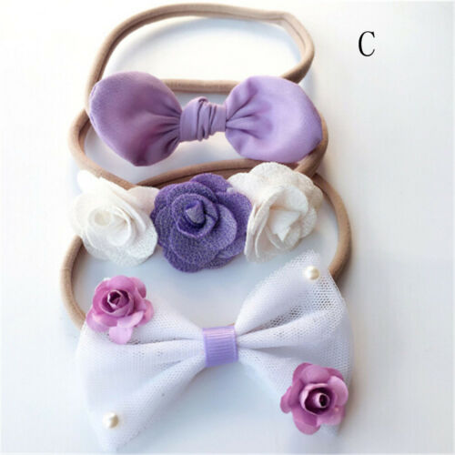 3x Kids Girls Baby Headband Toddler Bow Flower Hair Band Accessories Headwear BS