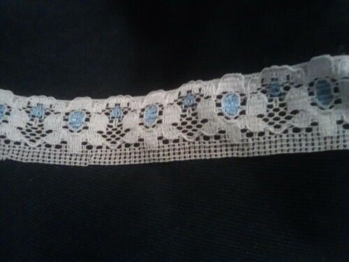 Width 30mm 1 /& 2 Metres Pretty White Lace with Pink or Blue Detail