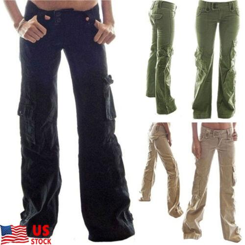 Women Cotton Hiking Pants Tactical Outdoor Pocket Loose Climbing Cargo Trousers