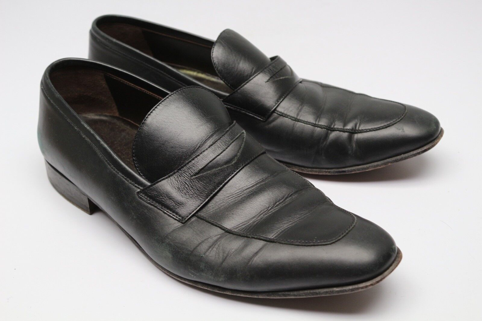 A Testoni Basic Penny Loafers 9.5 Black Leather Apron Toe Slim On shoes Used