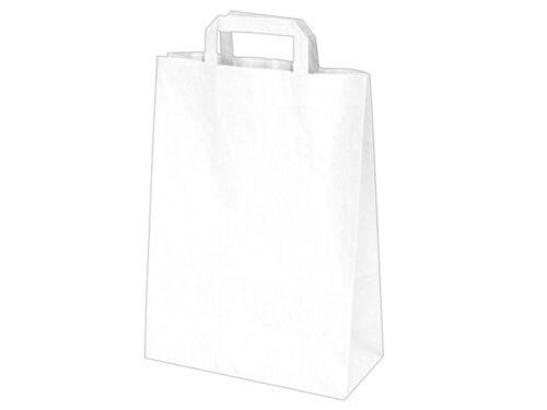 50 Papiertaschen Papiertüten Papiertragetaschen Tüte weiß 22x10x28 cm 70628