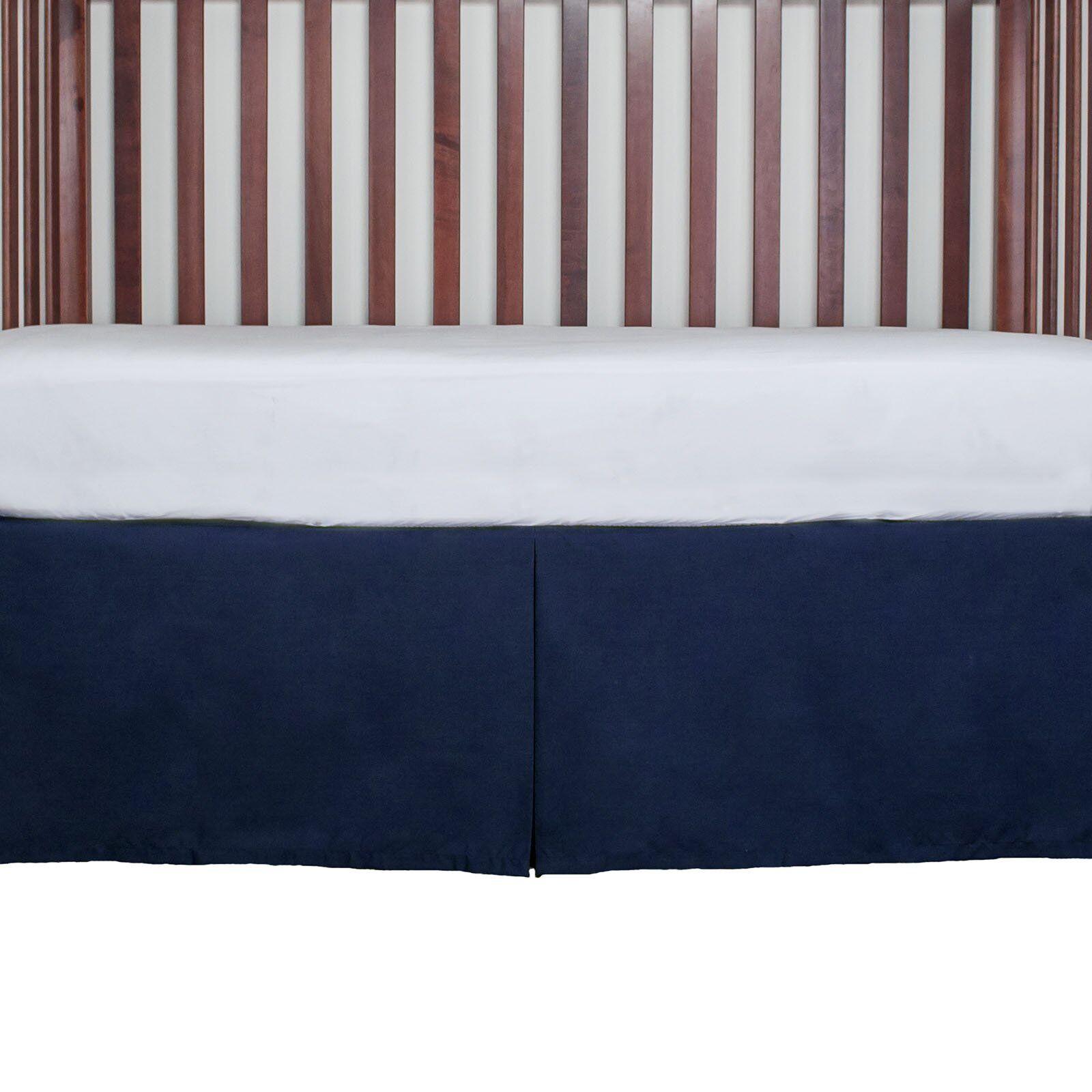 Navy Crib Skirt Gathered 15 Inches Long