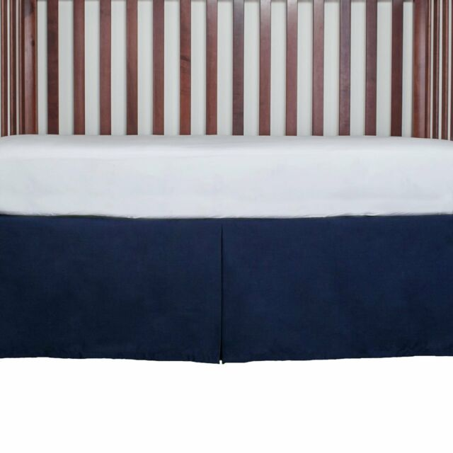 Tailored Crib Bed Skirt Dust Ruffle 15 Inches Long Color Navy Blue