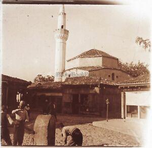 Albanie-Mosquee-Photo-Plaque-de-verre-Stereo-Positive-E5-Vintage-ca-1910