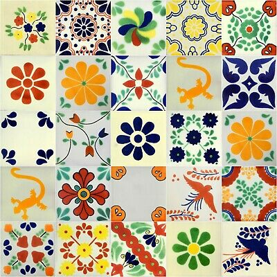 18 Mexican Tile Talavera Hand Painted Assorted Designs 4x4 18 4X4 MIX