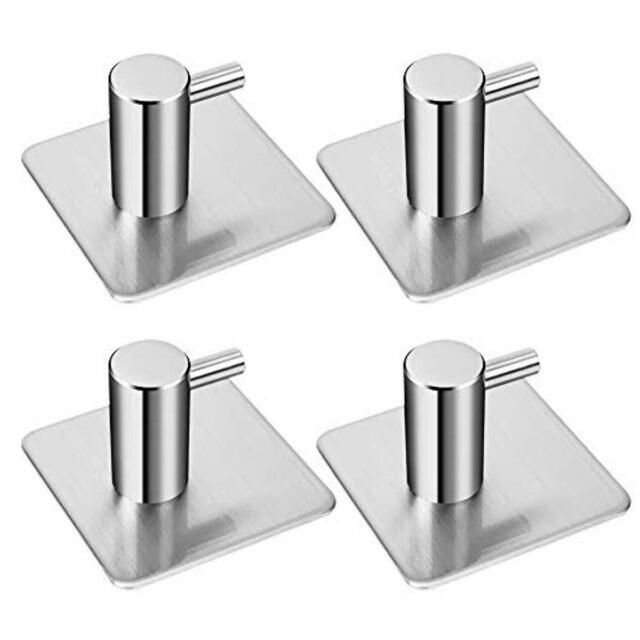 4X Self Adhesive Hooks Stainless Steel Clothes Towel Hanger Bathroom Kitchen UK