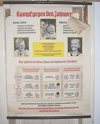 Zahnarzt Rollkarte um 1935 Kampf gegen den Zahnverfall Dr. Hopstein Leipzig !