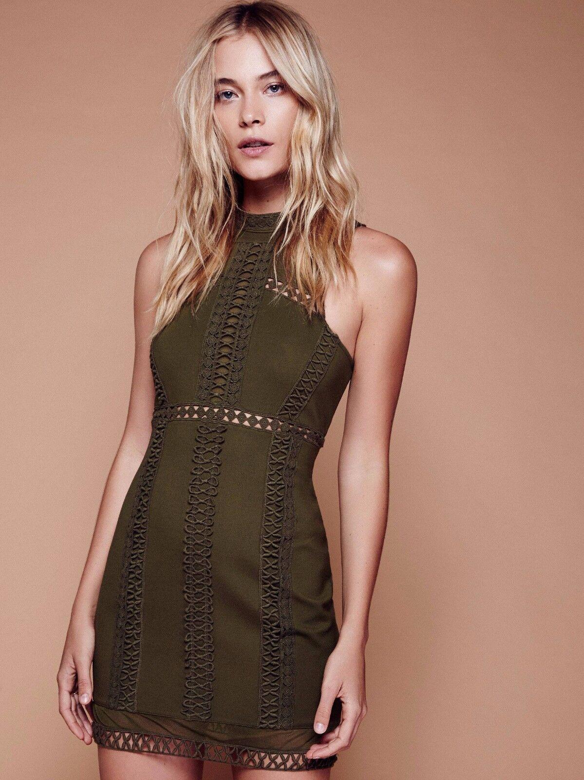 FREE PEOPLE Sky Scraper Mini Dress Olive Grün Medium M