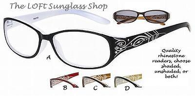 Floral Etching Rhinestonefashion  Shaded or Unshaded Reading Glasses Women r437