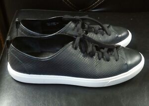 Leather Black Lace-ups Sneakers Size