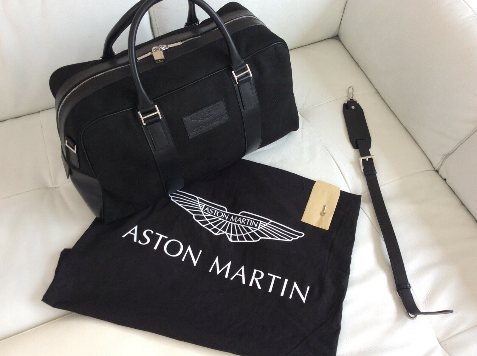 Aston Martin Holdall Large Black Leather For Sale