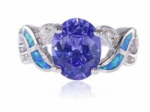 Grande-Tanzanita-Ovalado-Diamante-Sintetico-Azul-opalo-Infinity-Plata-de-Ley-Aro