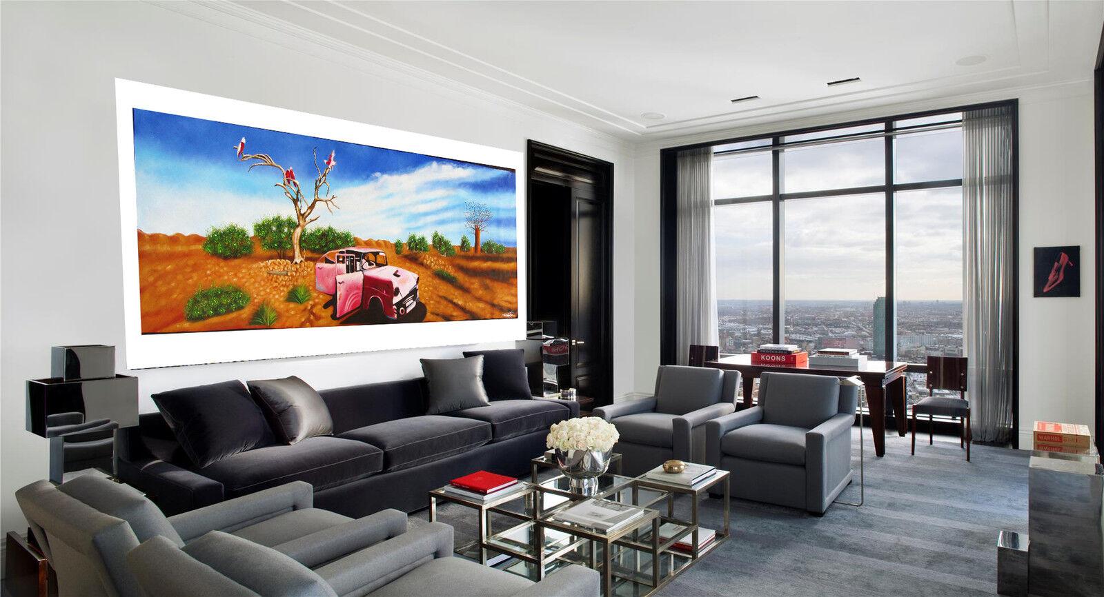 Huge Australia canvas landscape outback Bush  oil Art  Painting by Jane