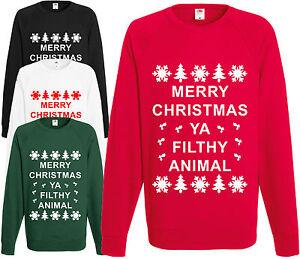 nuovo arrivo b1473 2024a Dettagli su Merry Christmas Ya Filthy Animal Felpa Novità Divertente  Maglione Natale
