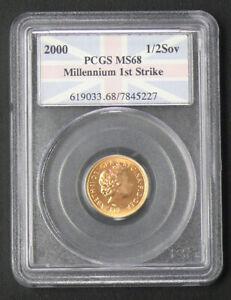 2000 PCGS MS68 MILLENIUM FIRST STRIKE GOLD HALF SOVEREIGN GREAT BRITAIN
