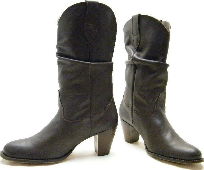 Para Mujer Nine West marrón Slouch de cuero Cowboy Western botas Talle 10 M 10 M