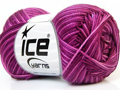 Lot of 6 Skeins Ice Yarns ALMINA COTTON COLOR (100% Mercerized Cotton) Yarn M...