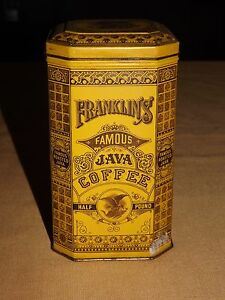 VINTAGE-MADE-IN-ENGLAND-FRANKLIN-039-S-FAMOUS-JAVA-COFFEE-HALF-POUND-TIN