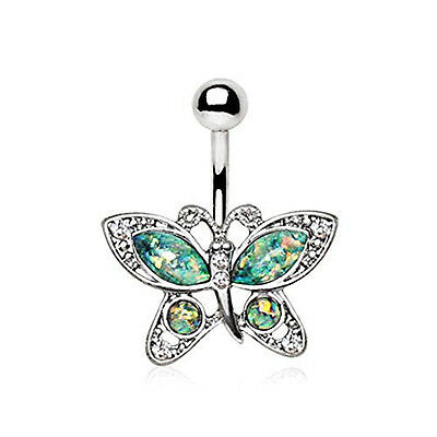 316L Stainless Steel Antique Ornate WildKlass Navel Ring with Synthetic Opal