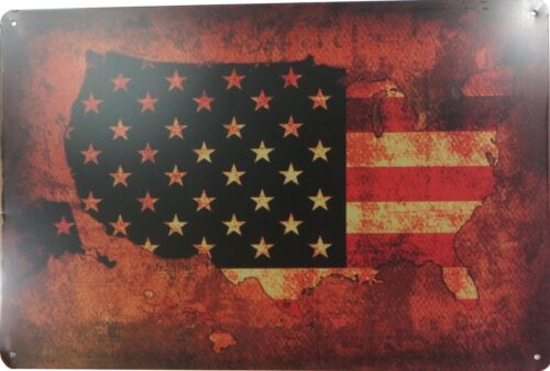 US SELLER American flag map metal tin sign  metal signs for sale