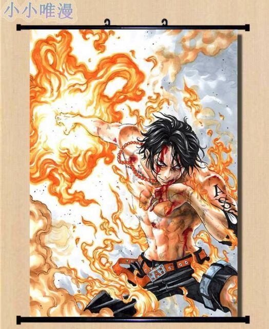 One Piece Portgas.D.ACE Home Decor Anime Japanese Poster Wall Scroll X00