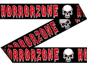 15-m-Absperrband-034-Horrorzone-034-Tolle-Deko-zur-Halloweenparty-Halloweenaussendeko