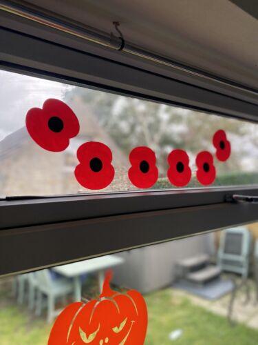 6 x Grand Pavot Autocollants-Coquelicots Fleur-Decals Water Colour Mur Fenêtre Voiture