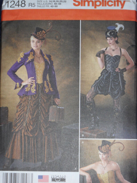 Steampunk Victorian Costume Misses size 14-22 Simplicity 1248 Sewing Pattern