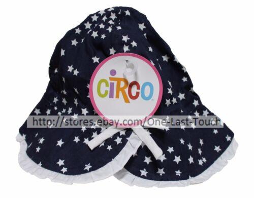 CIRCO Baby Girl STARS+BLUE Infant 12-18 Months BEACH//POOL//SUN HAT Chin Strap