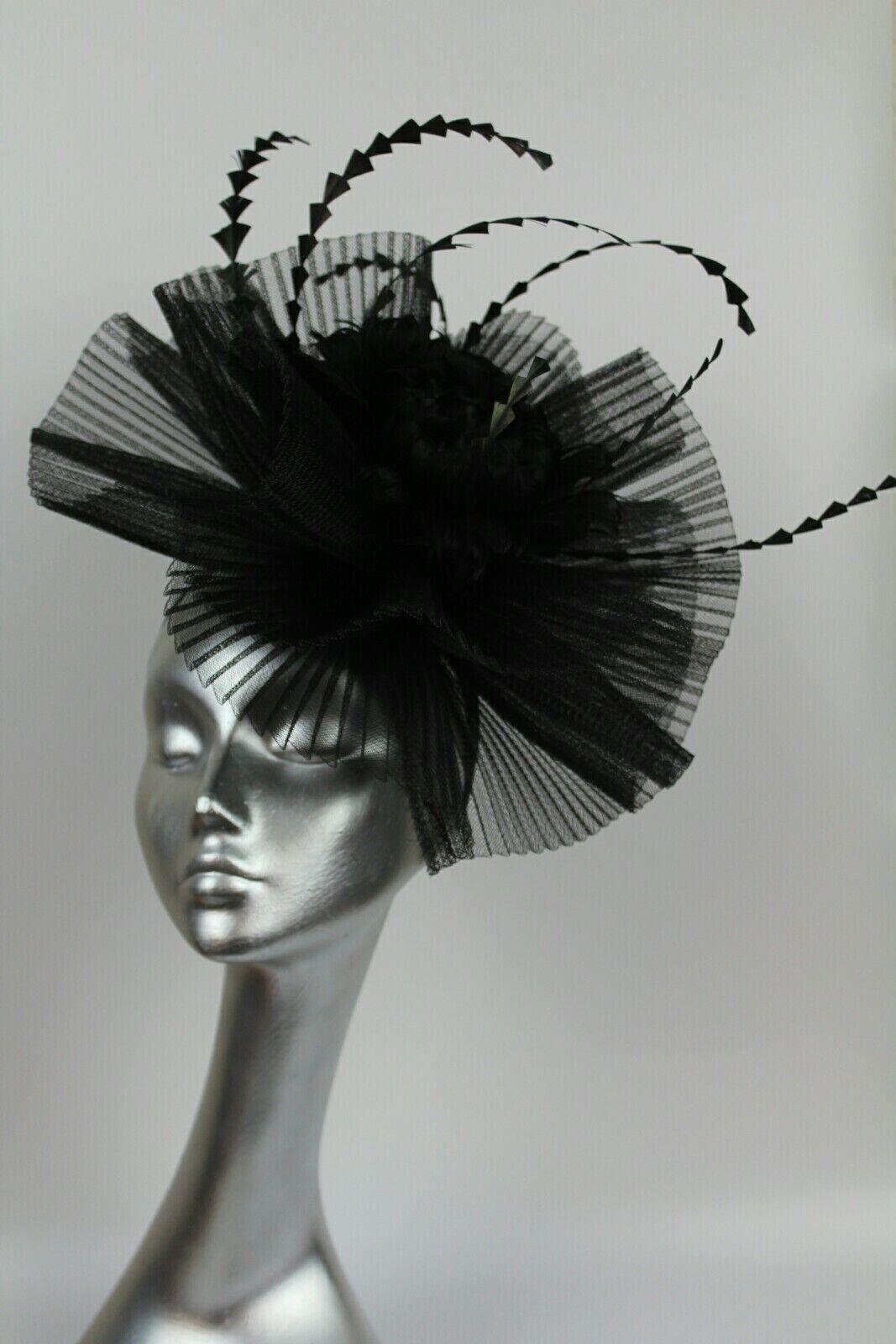 Black fascinator hat hatinator ascot races wedding crin