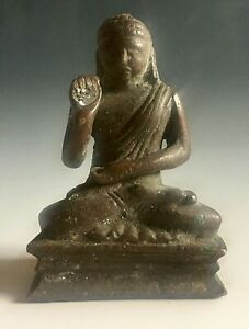 Vintage antique bronze seated Buddha statue figure