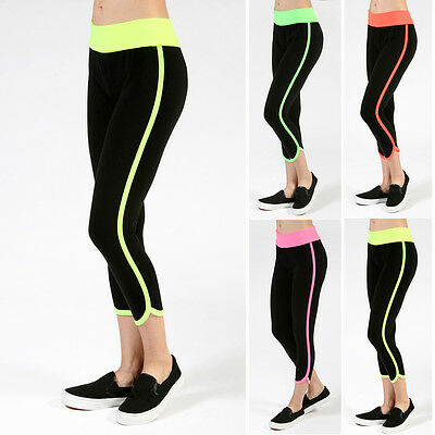 Workout Neon Foldover Waist Capri Pants Athletic Yoga Sport Gym Sweat Fitness