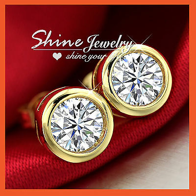 Simulated Diamond 7mm 9ct Rose Gold Filled Bezel Stud Earrings Mens Womens 9K