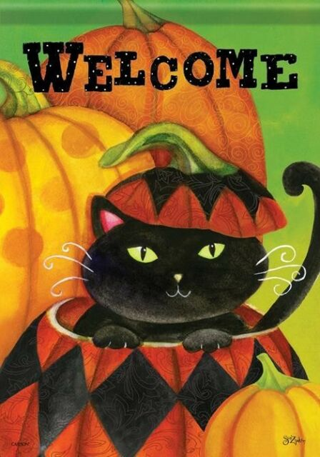 Carson Homes Garden Flag Double Sided 13x18 inch Cat-O-Lantern Welcome
