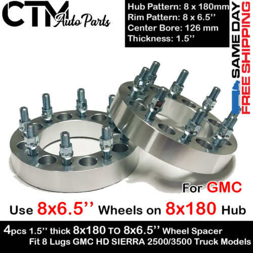 4PC 1.5/'/' THICK 8x180 TO 8X6.5/'/' WHEEL ADAPTER USE DODGE RIM ON GMC HD 2500//3500