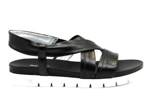 Sandali-scarpe-da-donna-basso-Nero-Giardini-P908220D-casual-estate-comode-pelle
