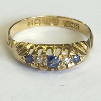 Antique Solid 18ct Gold Five Stone Diamond & Sapphire Dress Ring Size K1/2 1910