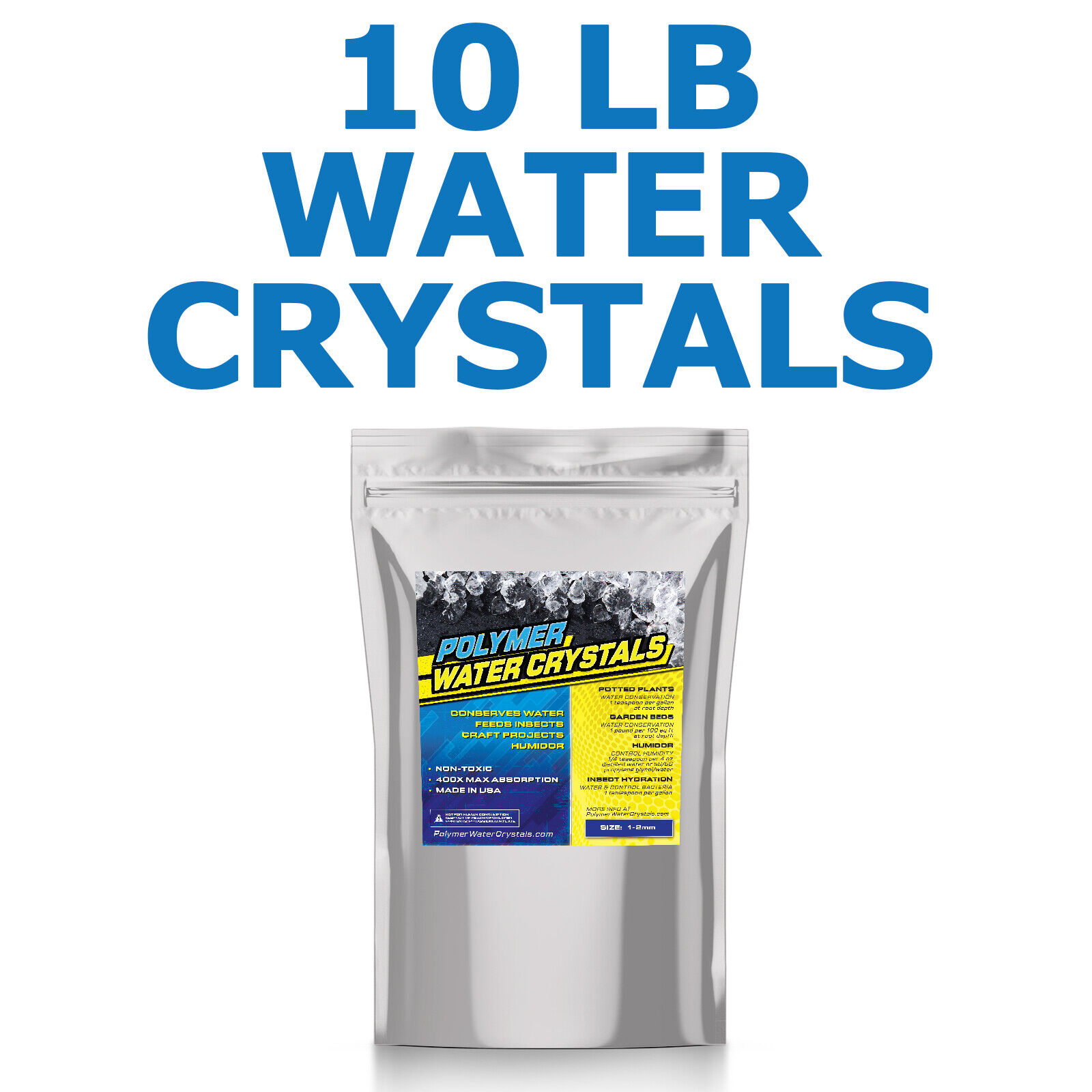 10 LB Water Polymer Crystals Soil Conserve Watering Insect Feeding Cricket - USA