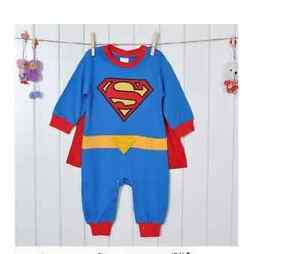 Baby Toddler Fancy Dress Party Longsleeves Superman Costumes Size 0-24months