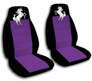 Image Is Loading 2 Front Black And Purple Unicorn Seat Covers