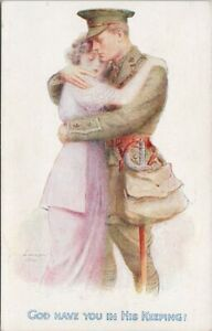 Soldier-Woman-War-Love-039-God-Have-You-In-His-Keeping-039-TUCK-Ludlow-Postcard-F90