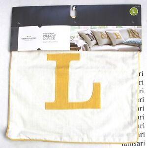 """Threshold Monogram Throw Pillow Cover   18/"""" x 18/""""   Khaki  /""""/&/"""""""