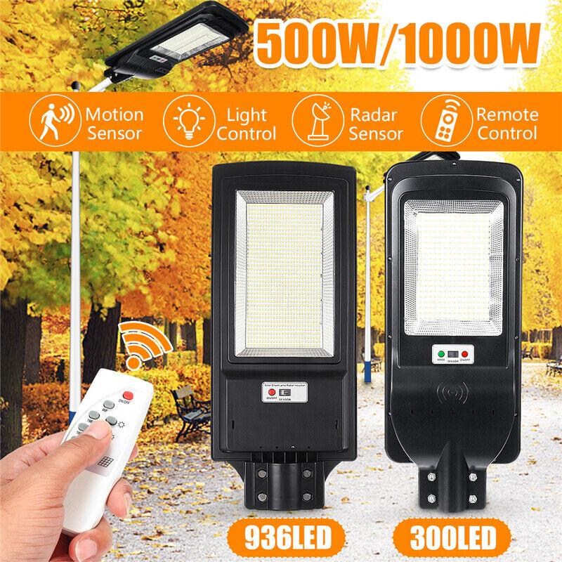 1000W 936LED Solar Straßenlaterne Hofbeleuchtung Flutlicht Lampe Bewegungsmelder